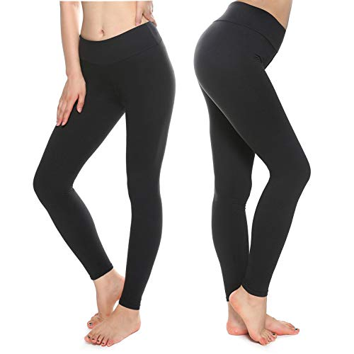 Buttery Soft Leggings for Women - High Waisted Leggings Pants with Pockets - Reg & Plus Size (Black, Plus)