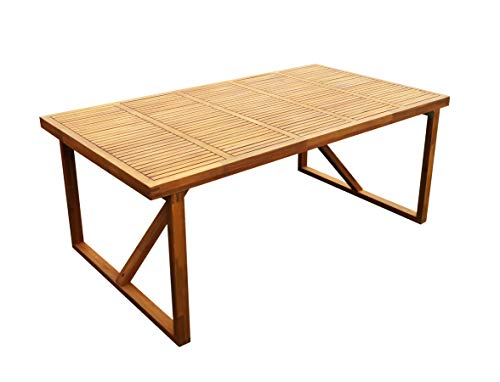 INTERBUILD WINTER SALE! STOCKHOLM 6 Person Table | Eettafel | 5ft 11in, Outdoor Patio Table,Golden Teak Finishing(niet inbegrepen stoelen)