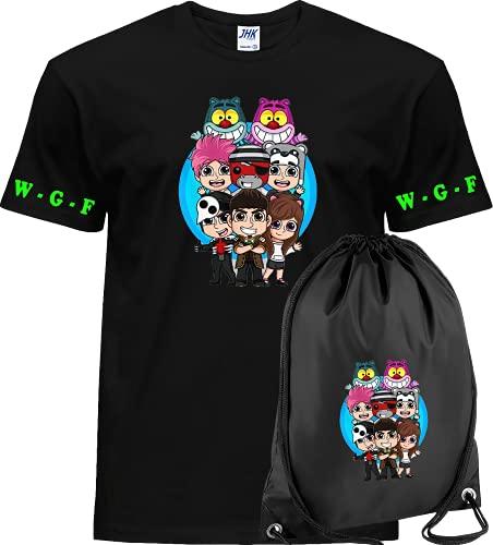 CLOTHING T-Shirt Maglietta Cotone + Sacca Lyon WGF Youtuber When Gamers Fail (Nero Team WGF 2, 9-11 Anni)