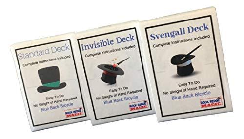 Rock Ridge Magic Magic Masters Combo: Invisible, Svengali and a Standard Deck Deception Trick Kit Blue Back
