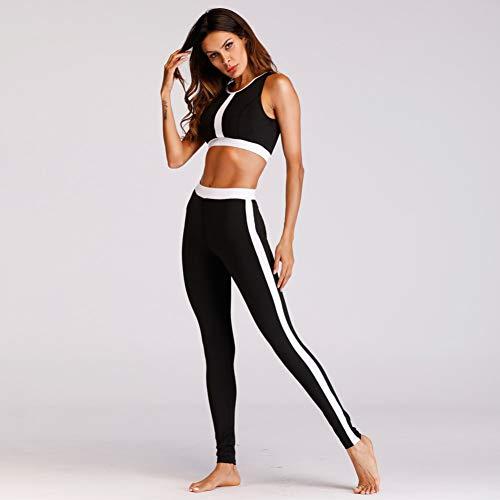 DUKUE Conjunto de Yoga de Fitness Mujeres Patchwork Negro Crop Top sin Mangas Trajes de Yoga Running Workout Gym Wear Traje de Entrenamiento Ajustado y Delgado