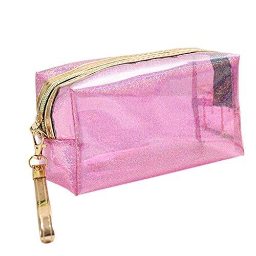 Sac cosmétique Mode Poche étanche Transparente Creative Portable Splash Proof Maquillage Pochette Trousse de Toilette pour Voyage 6.89 * 4.13inch-Pink_6.89 * 4.13inch
