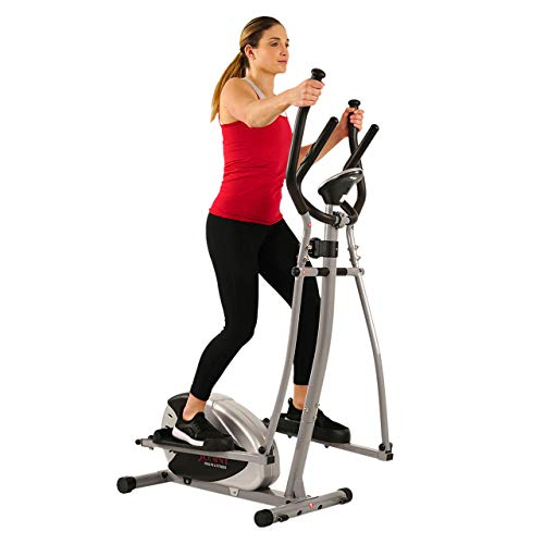 Sunny Health & Fitness SF-E905 Elliptical Machine Cross Trainer with 8 Level Resistance and Digital Monitor (Renewed)