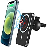 JAVONY Magnetic Car Air Vent Mount Charger Wireless Car Charger Fast Holder Charger Automatic Clamping 15W/10W/7.5W/5W Compatible with iPhone 12 Series 12 Pro Max Wireless Charger