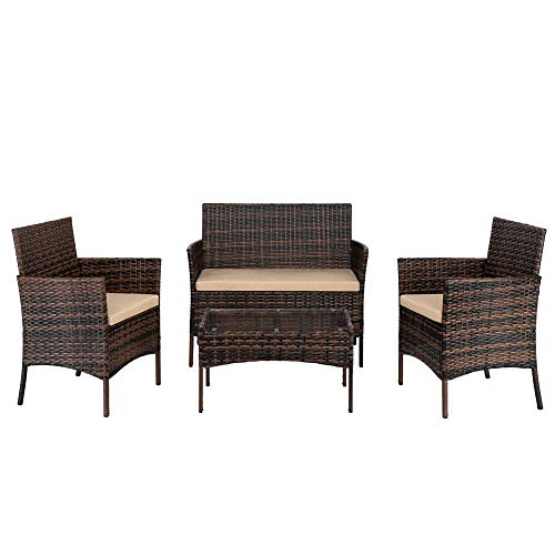 4pcs Wicker Rattan Garden Sofa Furniture, Outdoor Wicker Rattan Conversation Garden Chairs and Table Set with Cushion with 1 Loveseat,2 Rattan Sofa and 1 Tempered Glass Top Coffee Table【UK STOCK】