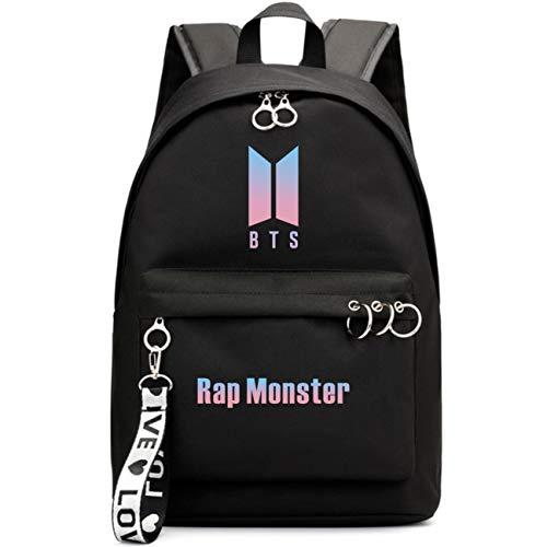 Duoyi EU Kpop BTS Bangtan Boys Rucksack Unisex Jungen Mädchen Casual Schultasche Laptoptasche Hochschultasche Reiserucksack Schönes Geschenk für BTS Fans Schwarz-Rap Monster
