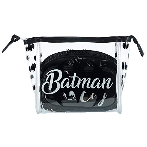 DC Comics Batman Gotham City Cosmetic Travel Makeup Bag And Brush 3 Piece Gift Set