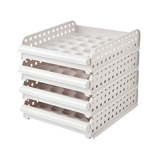 Soporte para huevos para refrigerador, apilable tipo cajón para el hogar, cocina, huevos, almacenamiento para refrigerar huevos y ahorrar espacio (cuatro capas)