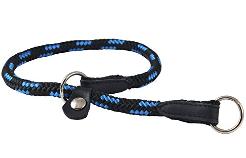 Dogs My Love Round Braided Rope Nylon Choke Dog Collar with Sliding Stopper (20' Long; 0.3' Diam (8mm), Blue/Black)