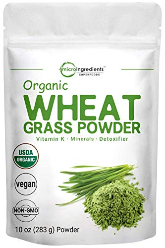 Sustainably US Grown, Organic Wheat Grass Powder, 10 Ounce (94 Serving), Rich in Immune Vitamins, Fibers, Fatty Acids and Minerals, Support Immune System and Digestion Function, Vegan Friendly