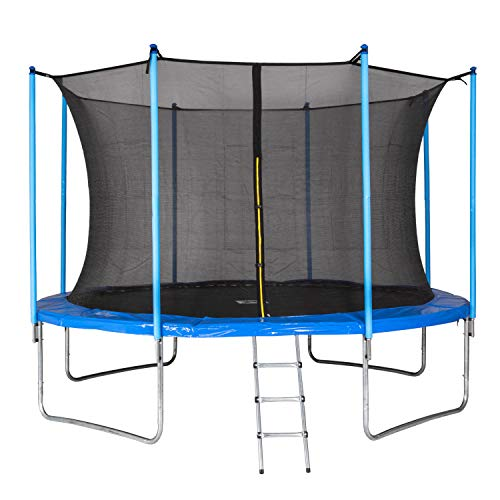 MotionXperts trampoline voor buiten 366 cm blauw met intern net, beklede stangen & ladder, belastbaarheid 150 kg