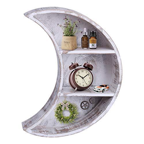 Aiboria 1 estante de pared de 16 pulgadas, diseño rústico de luna, decoración de pared, estantes de madera, estantes flotantes, decoración de pared de luna, decoración de pared