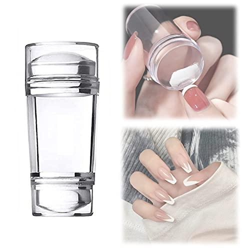 Sello de silicona transparente para uñas de doble cabeza, 2 piezas de sellos de uñas de silicona transparente para punta francesa, sella de silicona...