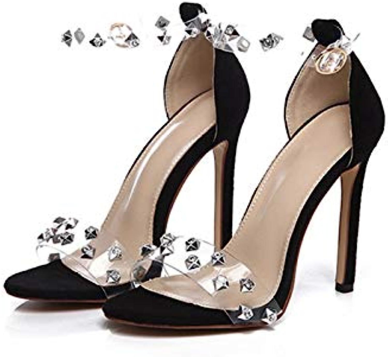 Transparent Rhinestone Fashion Sandals, Ladies High Heels, Wedding Dress High Heels (color   Black, Size   5.5 US)