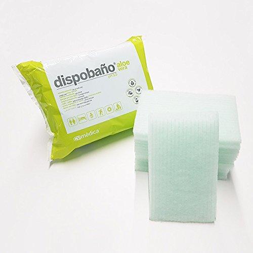 CV Medica Dispobaño Esponja Jabonosa Desechable para Pieles Sensibles, con Aloe Vera, pH5.5, 100g/m2, 12x20 cm, Paquete de 24
