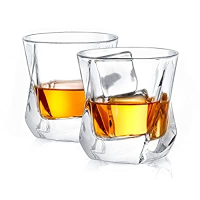JoyJolt Aurora Crystal Whiskey Glasses, Old Fashioned Whiskey Glass 8.10 Ounce, Ultra Clear Crystal Scotch Glass for Bourbon and Liquor Set Of 2 crystal Glassware