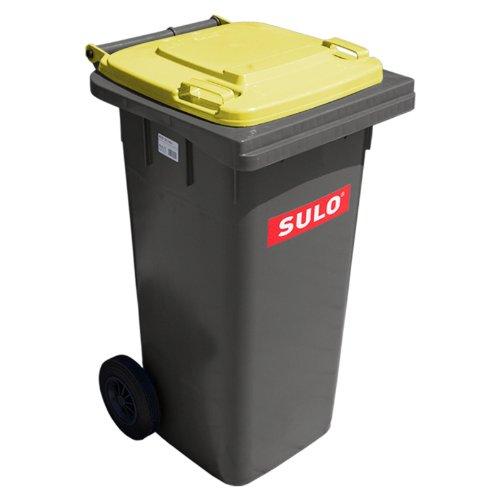 SULO Müllgroßbehälter 120 Liter Mülltonne Abfalltonne | Grau mit Gelben Deckel | Für alle DIN-Klammschüttungen | Made in Germany | Extra Starker Kunststoff | Leise Vollgummiräder | Leicht zu Reinigen | UV-Fest | Rost Fest | Verrottungsfest