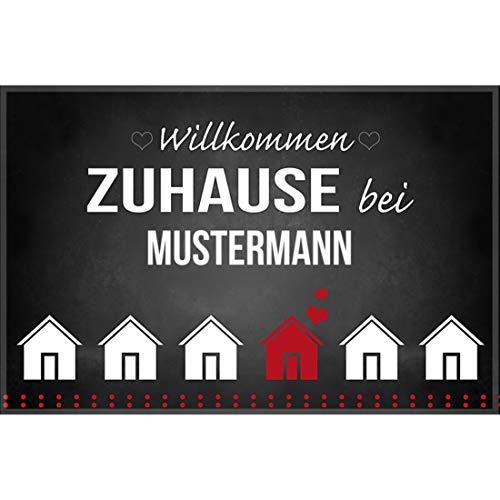Manutextur Fußmatte mit Namen - Motiv Willkommen Zuhause - viele Motive - Schmutzfangmatte personalisiert - Größe 44x67 cm - persönliches & individuelles Geschenk