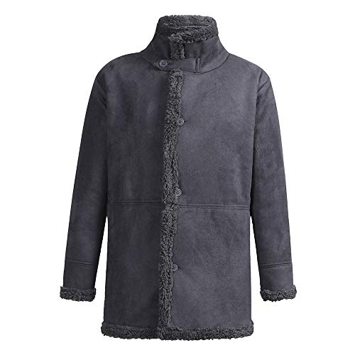 Kinlene Chaqueta de Piel de Oveja de Invierno para Hombre Abrigo de Lana cálida con Forro de imitación de Cordero de montaña Chaquetas