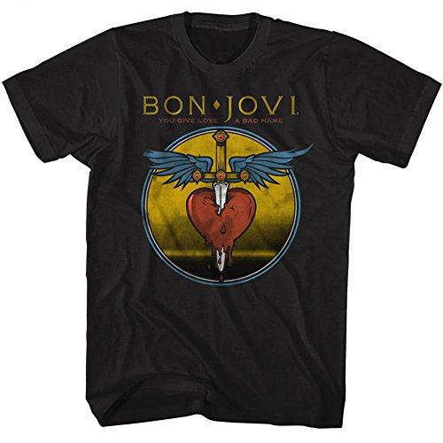 American Classics Banda de rock bon jovi mal nombre camiseta para hombre Medio Negro
