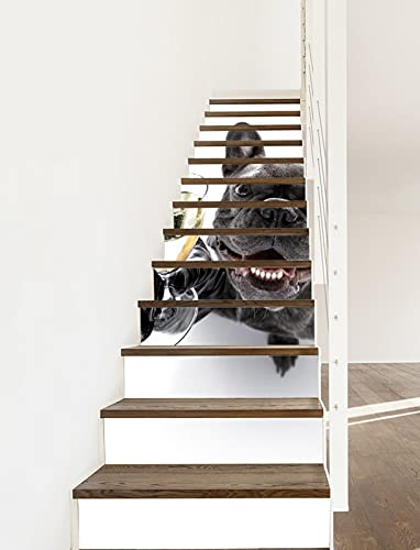 A.Monamour 3D Self-Adhesive Removable Stair Stickers French Bulldog Dog Cheers with Champagne Glass Animal Vinyl Stair Riser Decals Kitchen Tile Stickers Mural Wall Stickers Wallpaper 13 Pieces