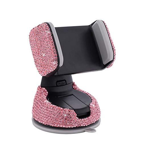 ihreesy Bling Support Téléphone de Voiture, Rotatif à 360° Support Telephone en Strass pour Tableau de Bord et Grille d'Aération Compatible avec iPhone12/5s/7/7Plus Galaxy S8+,Rose