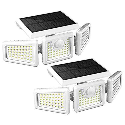 FLOWood 118LED Solarlampen für Außen, IP65 Solar Bewegungsmelder Aussen, Drehbare Solar Gartenleuchten, Super Helle Außenwandleuchten für Garten Aussen 2 Stück