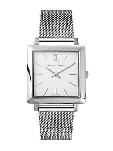 Larsson & Jennings LJXII Norse Unisex Mens & Womens Watch with 34mm Satin White dial and Silver Stainless Steel Strap NX34-MSV-SW.