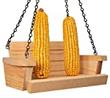 JCs Wildlife Cedar Squirrel Feeder Swing Made in The USA - Holds 2 Ears of Corn - Corn Feeder for Squirrels