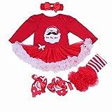 BabyPreg Bebe niña Mi Primera Navidad Vestido de Fiesta de Disfraces de Santa 4PCS (6-9 Meses, Papá Noel Largo)