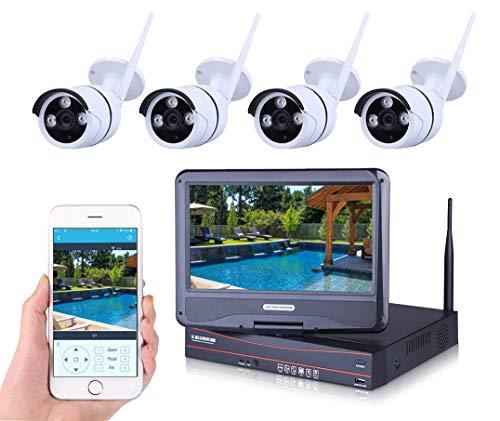 Sistema inalámbrico de cámara de seguridad para el hogar con monitor de 10.1'y cámara de vigilancia 4X 1.0MP Wifi Bullet