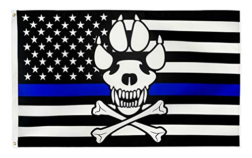 Thin Skull Blue Line America Police Flag - 3 x 5 FT with Grommets Blue Lives Matter Flag Honoring Law Enforcement Officers