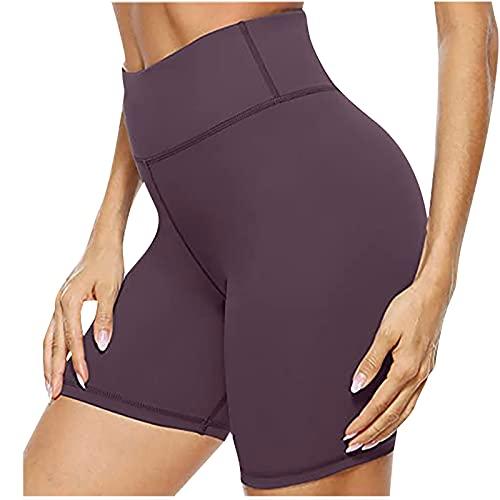 Frauherzz Pantalones cortos de yoga de cintura media alta para mujer, pantalones cortos de deporte con bolsillo para ciclismo, fitness, correr, entrenamiento, pantalones cortos y elásticos para mujer