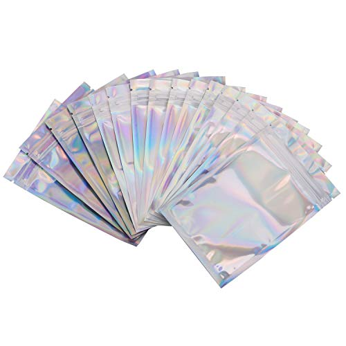 100 Pack Smell Proof Bags - 3x5 Inches Reclosable Mylar Bags Resealable Clear Ziplock Holographic Rainbow Color