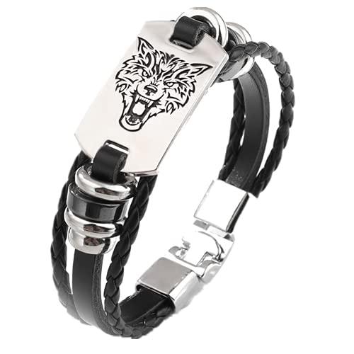 ForeverWill Viking Fenrir Wolf - Pulsera de piel con diseño de lobo nórdico con cabeza de lobo nórdico Odin Runic Cuff - Joyería para amantes de los lobos