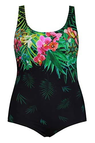 Ulla Popken Damen große Größen Übergrößen Plus Size Badeanzug, Blütenmotiv, Softcups, Normal-/Langgröße grün 62 721819 45-62