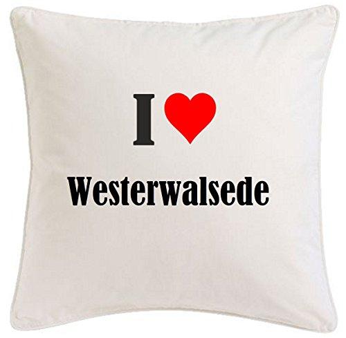 Kissenbezug I Love Westerwalsede 40cmx40cm aus Mikrofaser geschmackvolle Dekoration für jedes Wohnzimmer oder Schlafzimmer in Weiß mit Reißverschluss