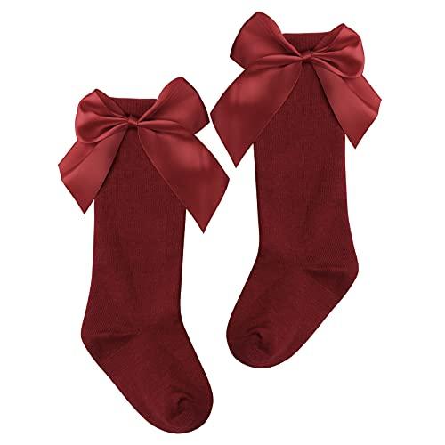 MSemis Calcetínes Largos de Algodón para Bebe Niña 0-5 años Medias Largos Suaves de Vestido de Bautizo Calcetínes Elegantes Lindo Rojo 0-12 Months
