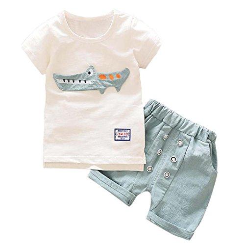 Babybekleidung,Resplend Kleinkind Kind Baby Junge Outfits Kleidung Karikatur-Druck-T-Shirt Tops + Shorts Hosen-Satz Mode Krokodil Drucken 2 Stück Bekleidungssets Babyanzug (Hellblau, 24M)