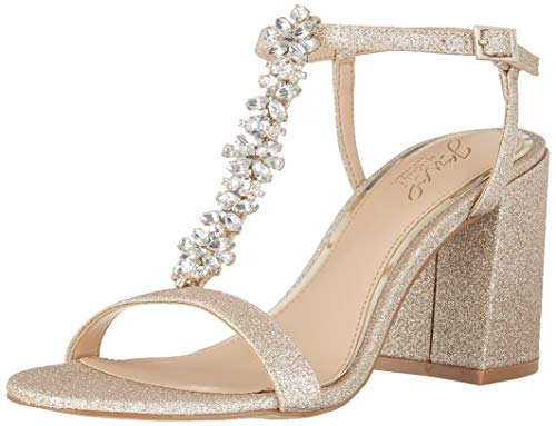 Jewel Badgley Mischka Women's RAINA Sandal, Gold Glitter, 7.5 M US