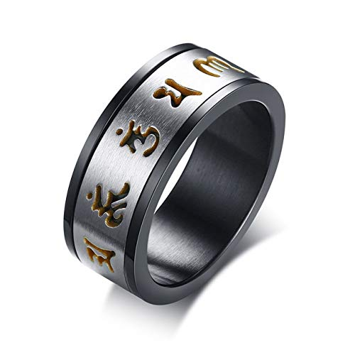 SDFASD Anillo Giratorio De Meditación para Hombres Budista Tibetano De Acero Inoxidable Six True Syllable Mantra Jewelry 11 R-388G
