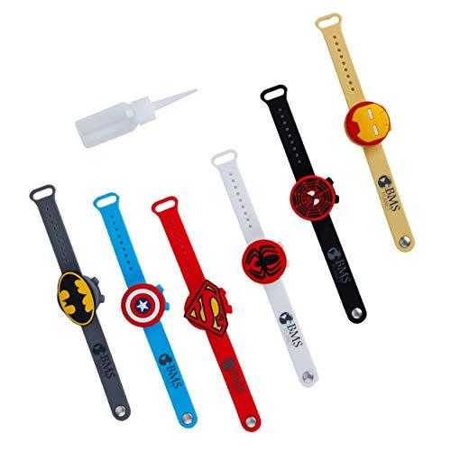 BMS Set di 6 braccialetti dispenser di gel idroalcolico con supereroi per bambini e bambine – braccialetti dosatori disinfettanti per mani con i migliori supereroi