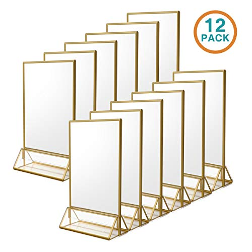 NIUBEE 12Pack 4 x 6 Clear Acrylic Sign Holder with Gold Borders and Vertical Stand, Double Sided Table Menu Holders Picture Frames for Wedding Table Numbers, Restaurant Signs, Photos and Art Display