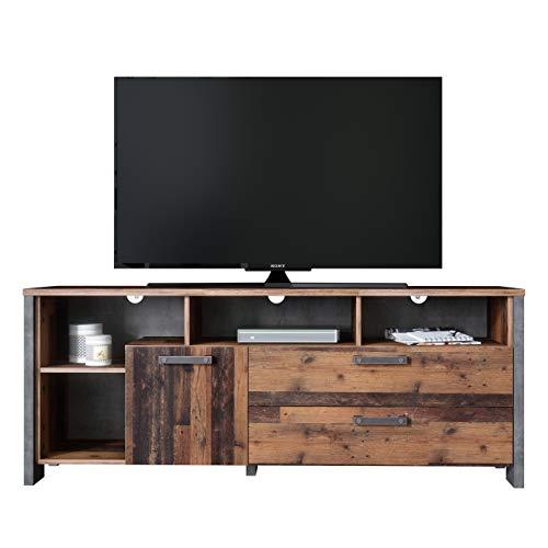 Newfurn TV Board Betonoptik Dunkelgrau Old Wood TV Lowboard Vintage Industrial - 161x63,9x41,6 cm (BxHxT) - TV Schrank Fernsehtisch Rack - [Kane.Two] Wohnzimmer Schlafzimmer