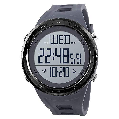 Reloj digital deportivo para hombre, números grandes, resistente al agua, cronómetro, cuenta atrás, LED, reloj de pulsera militar para hombre