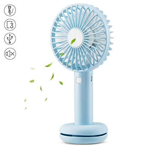 AGPTEK Mini Ventilador USB con Luz de Color, Portátil Ventilador de Mano Recargable de 2600mAh Super Silencioso para Oficina, Viajes, Azul