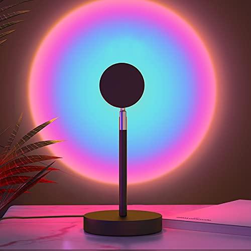 YJSJ USB Rainbow Sunset Red Projector Led Night Light Cálido Romántico Sun Proyector Lámpara De Escritorio para Dormitorio Bar Cafetería Decoración De Pared Iluminación