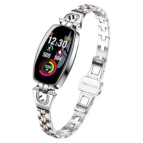 Anyer Smart Watch for Women, 0,96'Smartwatch De Pantalla Táctil, Reloj De Seguimiento De Actividades De Fitness con Monitor De Ritmo Cardíaco, Impermeables IP67 para Teléfonos iOS De Android,Plata
