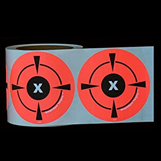 """300 Mega Pack 3"""" Target Sticker Roll - Self Adhesive SimpleSpot Shooting Targets - Easy to See Bright Fluorescent Orange Shooting Targets - You Get 300 Targets for The Price of 250!"""