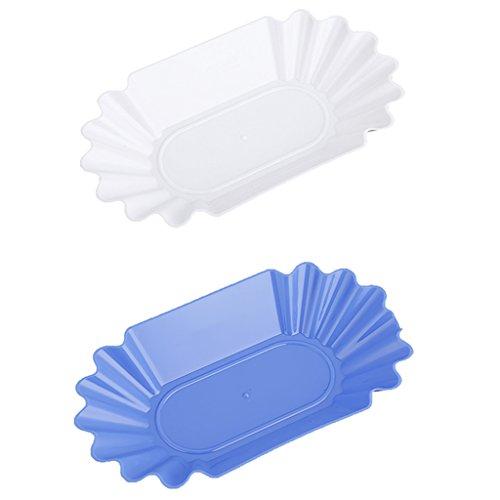 MagiDeal 2pcs Bac à Grains Ovales Plateaux en Plastique Plaque Plat Assiettes Vaisselle Bleu Blanc
